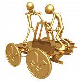Teamwork Push Cart With Gold Yen Coin Wheels