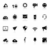 Smart Phone Screen Icons With Reflect On White Background