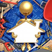 Holding Blank Golden Home Frame Sign