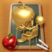 Little Golden Student With Giant Gold Apple Teacher's Pet