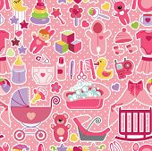 foto of baby doll  - Cute seamless pattern for baby girl with baby icons - JPG