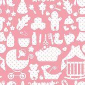 Cute Newborn Baby girl seamless pattern
