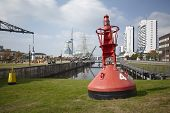 Bremerhaven - Buoy And Residential Tower At The Inner City