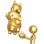 Balancing Golden Savings Investments Piggy Banks On Fingertip