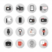 Set of flat colorful vector journalism icons. Mass media. Communication. Illustration consists of co