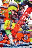 A Carnival Float depicting a crewman for something dealing with television