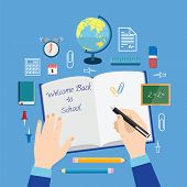 Back to School Flat Style Vector Icon Set on Blue Background Books Pencils Pen and Other Stationary