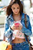 Beautiful Woman Texting With Her Phone