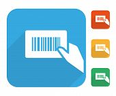 Barcode label with human hand icon set