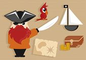 pirate cartoon icons set