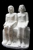 Sitting Group Statue Of A Married Couple From Egypt