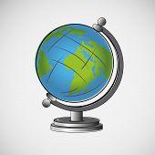 Vector school globe on a light background
