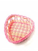 Pink Woven Basket For Gifts On White