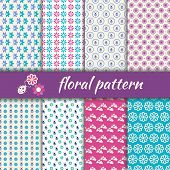 Set Seamless Pattern With Flowers And Bugs