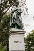 Statue For Berzelius At Berzeli Park In Stockholm.