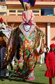 Decorated elephants and mahouts parade