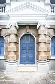 picture of front-entry  - Closeup classic blue door front door background - JPG