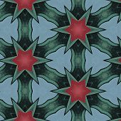 Pink, Green and Blue Star Pattern Tiled Background