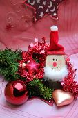 stock photo of gnome  - christmas decoration with smiling gnome and baubles