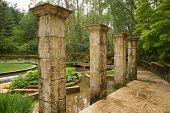 foto of mckenzie  - Pillars in an Oregon garden close to the McKenzie River - JPG