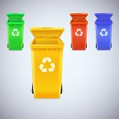 stock photo of recycling bin  - Colorful recycle bins with recycle sign - JPG