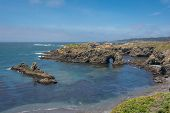 stock photo of mendocino  - A view of the coast of Mendocino with a natural arc - JPG