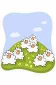 sheep on a meadow cartoon drawing