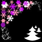 Cristmas Pines And Snowflakes