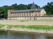 picture of suny  - suny scenery including a historic building at River Elbe near Dresden in Saxony  - JPG