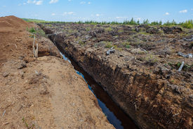 foto of boggy  - Peat extraction - JPG