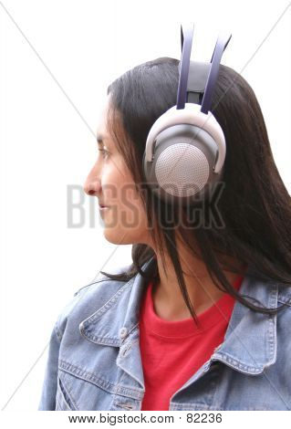 Girl With Wireless Headphones poster