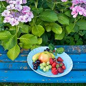 Healthy Sweet Fruits On Plate On Wooden Chair