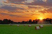 sun setting on hay field