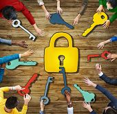Aerial View Padlock Security System Conference Togetherness Concepts