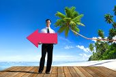 Businessman Holding Arrow Sign Direction Leading Strategy Concept