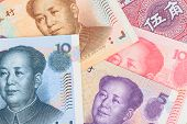 Chinese Or Yuan Banknotes Money  From China's Currency, Close Up View As Background