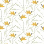 Bird Of The Paradise Flowers Seamless Pattern