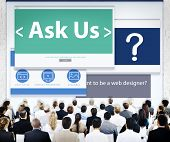 Business People Ask Us Corporate Seminar Meeting Concept