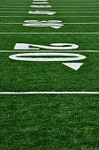 stock photo of football field  - 20 Yard Line on American Football Field Copy Space vertical - JPG