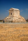 Tomb Of Cyrus In Pasargadae Of Iran Against Blue Sky