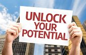 Unlock your Potential card with a urban background