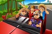 foto of car ride  - A vector illustration of happy stylish elderly women riding a car on a road trip - JPG