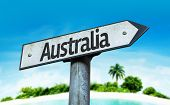 Australia sign with a beach on background