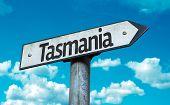 Tasmania sign with sky background