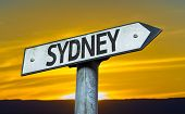 Sydney sign with a sunset background
