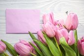 foto of congratulation  - tulips and post card - JPG
