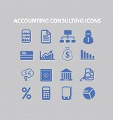 accounting, consulting, finance icons, signs, illustrations set, vector
