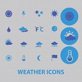 weather, climate, temperature icons, signs, illustrations set, vector