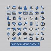 ecommerce, shopping icons, signs, illustrations set, vector