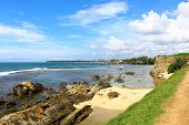 The Galle Fort and the rocky shore of the Indian ocean